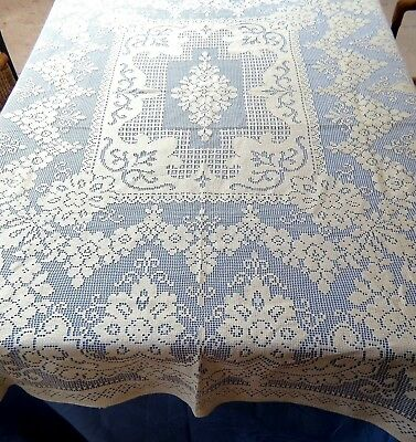 "Vintage Quaker Filet Lace Tablecloth 58x70"" Rectangle Floral Cotton"