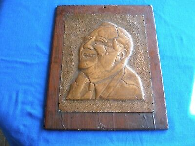1930s Franklin Roosevelt Folk Art Raised Copper Plaque