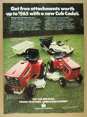 1982 IH Cub Cadet 782 382 Tractors 85 Riding Mower photo vintage print Ad