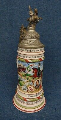 1907-10 Depicted Lithopane Regimental Stein w/Lid NICE!Riding Soldier Finial