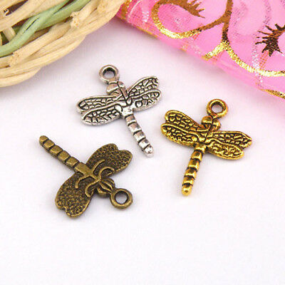 8Pcs Tibetan Silver,Antiqued Gold Bronze Flying Dragon Charms Pendants M1321