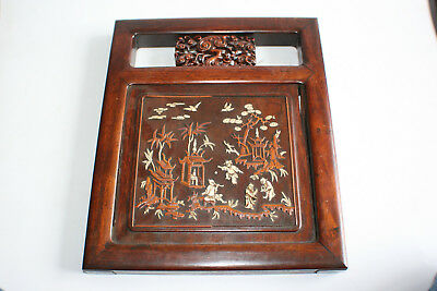 Antique Chinese Wooden Hand Carved with Inlay Picture Wall Hanging