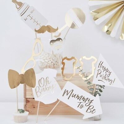 Oh Baby Photo Booth Props - White & Gold Baby Shower - Gender Neutral Set