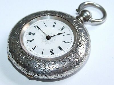Superb Scarce Case Antique 1890 Detailed Dial & Solid Silver Pocket / Fob Watch