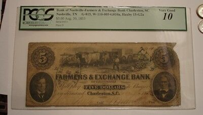 $5 Five Dollar FARMERS & EXCHANGE BANK Charleston SC PCGS Very Good 10 Bank Note