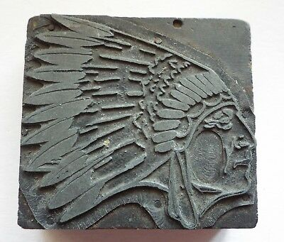 Old Antique Small NATIVE AMERICAN INDIAN Wearing Headdress PRINTER'S BLOCK