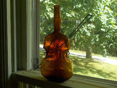 Amber Hand Blown Violin Figural Bottle &original Metal Bow Wall Hanger 9 7/8""