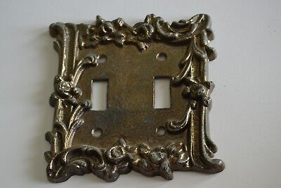 Vintage Ornate Floral Worn Brass-Tone Metal Wall Double (2) Switch Plate Cover