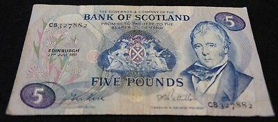 1981 Bank of Scotland 5 Pound Note in VG Condition Nice Note!