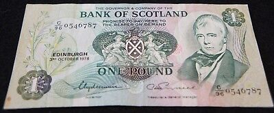 1978 Bank of Scotland 1 Pound Note in VF Condition  Nice Collectible Note!