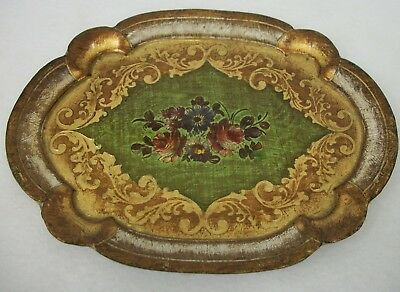 Vintage Italian Florentine Wood Tole Dresser Tray Hollywood Regency Marked Pisa