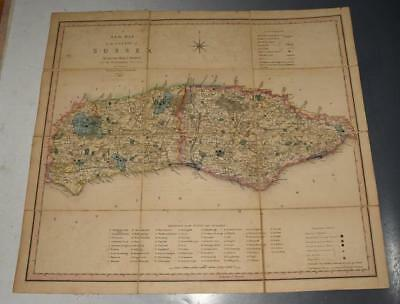 C. SMITH A New Map of the County of Sussex 1840 Large Canvas Slipcase Hundreds