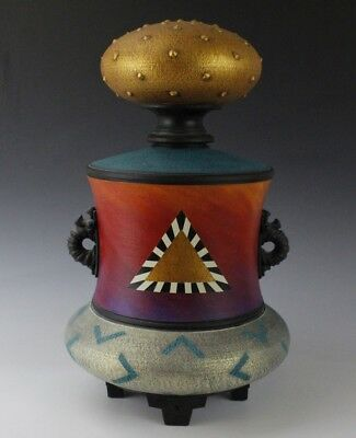 Contemporary Studio Hand Crafted Painted Ceramics Art Pottery Footed Vessel LZO