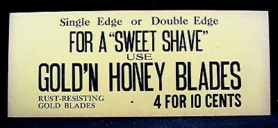 Gold'n Honey Blades Cardboard Sign Honey Blade Co St Louis Mo Old Store Stock