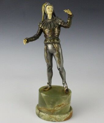 Antique French Art Deco Spelter Harlequin Jester Sculpture on Green Onyx Base NR