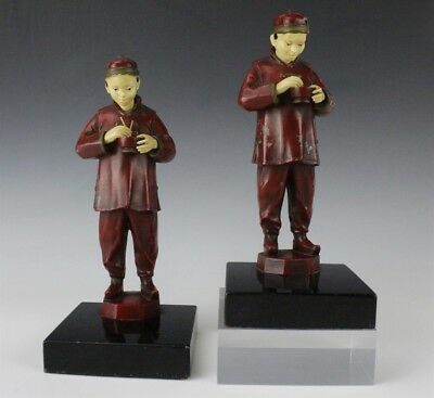 Antique Art Deco Pair JB Hirsch Chinese Man Painted Metal Figural Bookends MLH