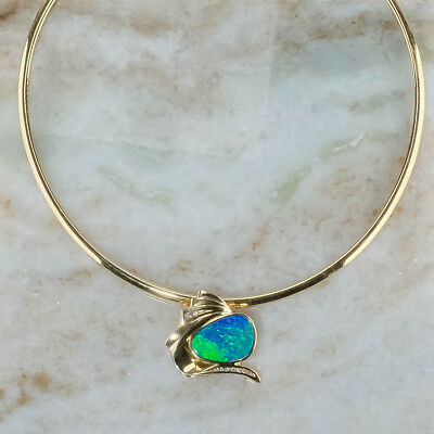 """14K Yellow Gold Opal & Diamond Accented Slide Pendant & 17"""" Omega Link Chain"""