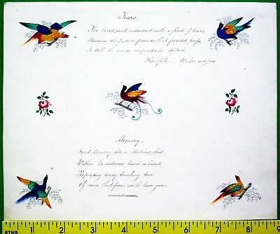 hand done,painted album leaf with birds,flowers&sentiments,ca.1850