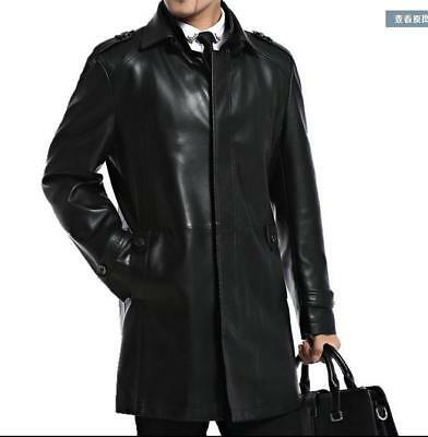 Mens Trench Leather Long Coats Outwear Jackets Business Overcoat Slim Fit Luxury