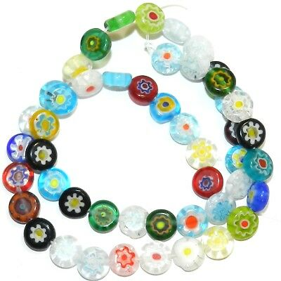 """G4491L2 Assorted Color 8mm Flat Round Coin Millefiori Flower Glass Beads 14"""""""
