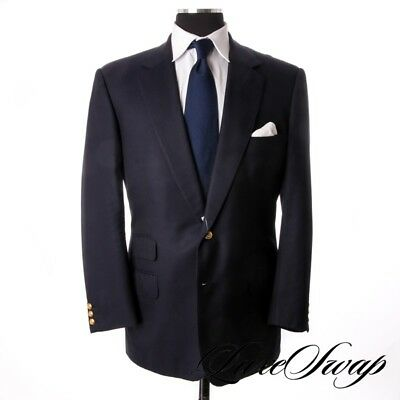 BIG GUYS Henry Poole Savile Row England Bespoke Solid Navy Brass Button Jacket
