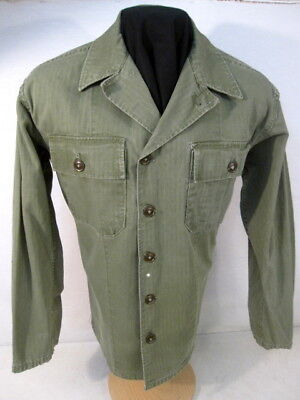 post-WWII US Army OD7 HBT Herring Bone Twill 2nd Pat Combat Jacket Shirt Sz 36 1