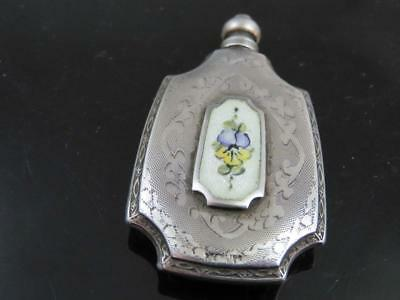Antique Sterling Silver Guilloche Enamel Scent Perfume Flask Bottle With Pansy