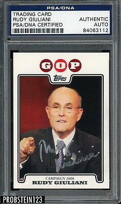 Rudy Giuliani Republican Signed 2008 Topps GOP Card AUTO PSA/DNA