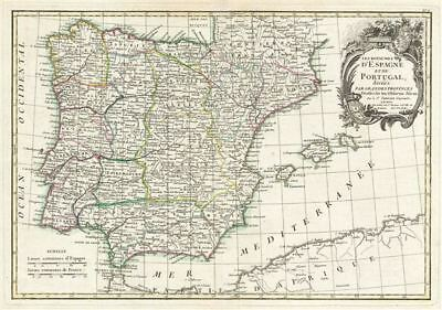 1783 Janvier Map of Spain and Portugal