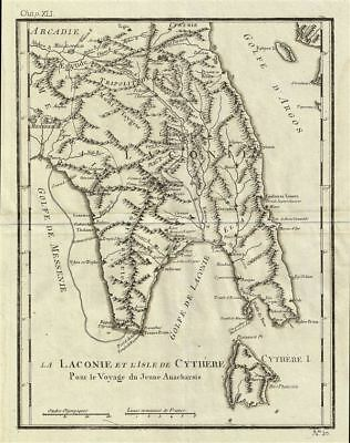 1791 Bocage Map of Laconia and Cythera, Ancient Greece