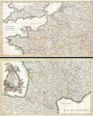 1775 Zannoni Two Panel Map of France