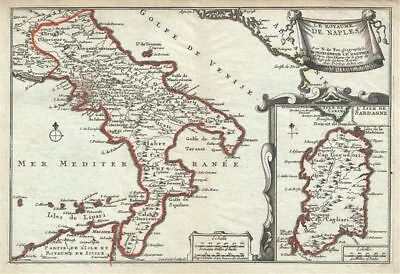 1701 De Fer Map of the Kingdom of Naples, Southern Italy