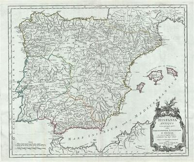 1750 Vaugondy Map of Ancient Spain and Portugal