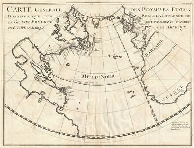 1724 Rapin de Thoyras Map of English Dominions in America and Europe