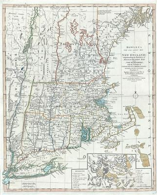 1796 Bowles One Sheet Map of New England