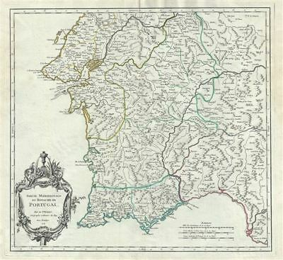 1751 Vaugondy Map of Southern Portugal