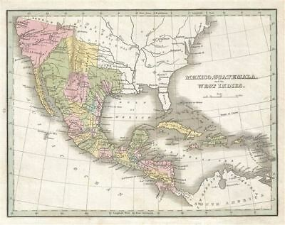 1835 Bradford Map of Mexico, Central America and West Indies