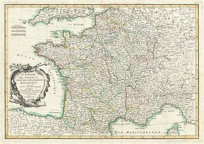 1762 Janvier Map of France