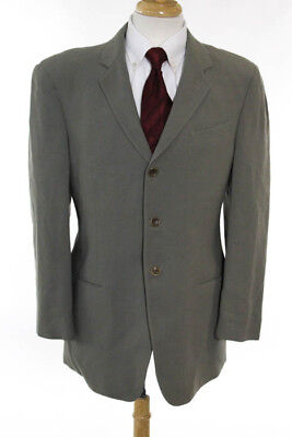 Armani Collezioni Mens Gray Wool Three Button Blazer Size 40 Regular