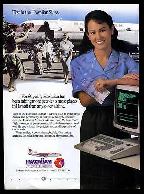 1989 Hawaiian Airlines plane & reservation agent photo vintage print ad