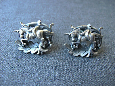 Vintage Swank unicorn dark silvered metal cufflinks