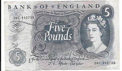 Vintage Circulated Bank of England Five Pound Note