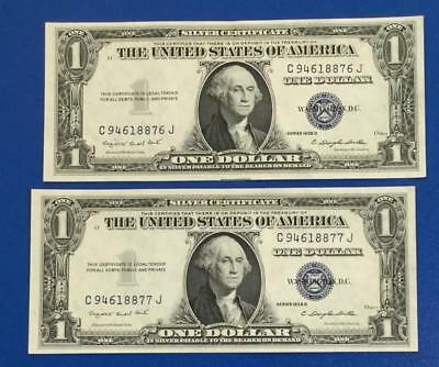 1935G $1 Blue Choice Crisp AU Consecutives SILVER Certificates X876 Set of 2!