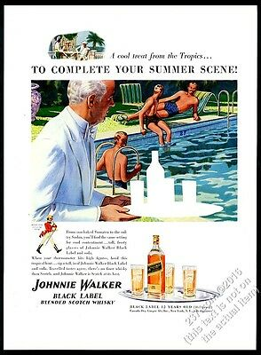 1940 Johnnie Walker Scotch Whisky men at pool & waiter art vintage print ad