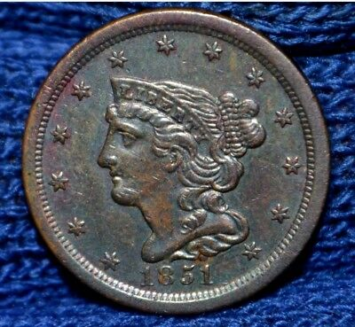 1851 HALF CENT**AU**Attractively Toned !