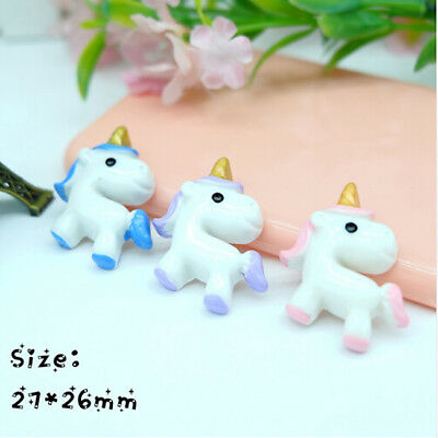 10pcs Unicorn Flatback Resin Cabochon Craft For DIY Hair Clip Decoration BS