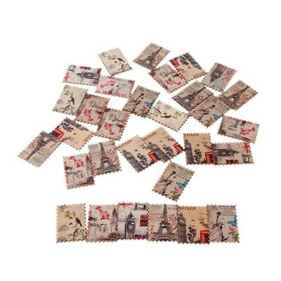 Stamp Wooden Buttons Flowers Eiffel Tower landscape pattern Sewing Scrapbooking