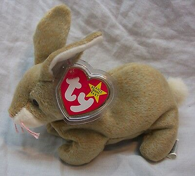 "TY Beanie Baby NIBBLY THE TAN BUNNY RABBIT 6"" STUFFED ANIMAL Toy 1999 NEW"