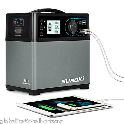 Suaoki 400Wh Portable Solar Power Generator Supply Cars Jump Starter 4 USB Port