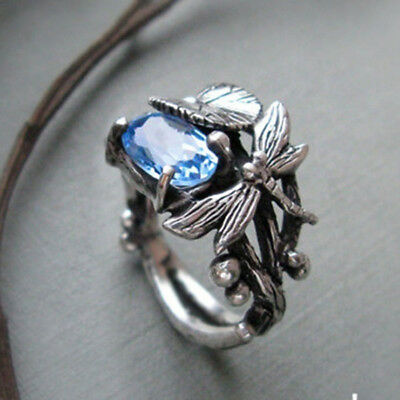Vintage Women 925 Silver Blue Topaz Dragonfly Lotus Ring Wedding Party Jewelry